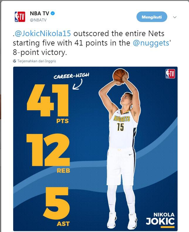 Nikola Jokic Copyright: Twitter NBA Tv