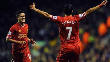 Luis Suarez dan Philippe Coutinho saat membela Liverpool. - INDOSPORT