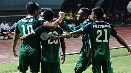 Selebrasi para pemain PSMS Medan. Herry Ibrahim/INDOSPORT - INDOSPORT