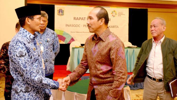 Rapat koordinasi Wakil Gubernur DKI Jakarta, Sandiaga Uno dengan INASGOC. Copyright: INASGOC