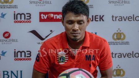 Bek Persija Jakarta, Maman Abdurahman saat jumpa pers jelang Laga Bhayangkara FC vs Persija Jakarta. - INDOSPORT