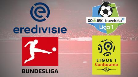 Logo Eredivisie, Liga 1 Indonesia, Bundesliga, Ligue 1 - INDOSPORT