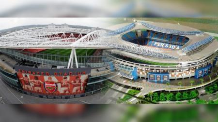 Perbandingan Stadion Batakan dan Stadion Emirates milik klub sepak bola Liga Inggris, Arsenal. - INDOSPORT