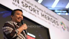 Indosport - Menpora, Imam Nahrawi memberi sambutan dalam acara pameran foto olahraga bertajuk 'Indonesian Sport Heroes'.