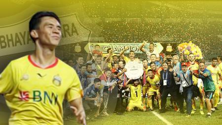 Penggawa Bhayangkara FC, Alsan Sanda dan momen ketika menjuarai Liga 1 2017. - INDOSPORT