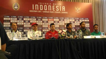 Jumpa Pers Timnas Indonesia U-23 melawan Suriah. - INDOSPORT