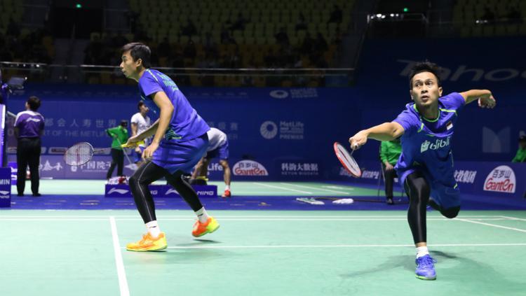 Mohammad Ahsan/Rian Agung Saputro di babak pertama China Open 2017. Copyright: Humas PBSI