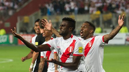 Selebrasi pemain Peru, Christian Ramos. - INDOSPORT