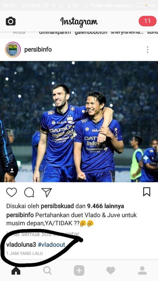 Vladimir Vujovic Beri Sinyal Akan Pergi Meninggalkan Persib Copyright: Instagram/persibinfo
