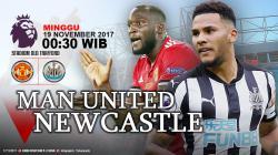 Susunan pemain Manchester United vs Newcastle United.