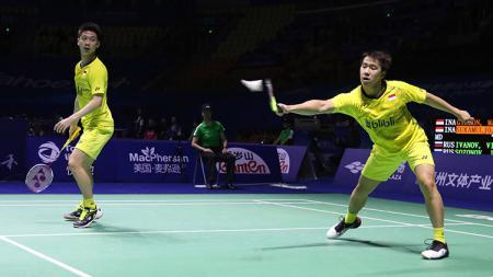 Marcus Fernaldi Gideon/Kevin Sanjaya Sukamuljo kalahkan pasangan Rusia pada babak delapan besar China Open 2017. - INDOSPORT