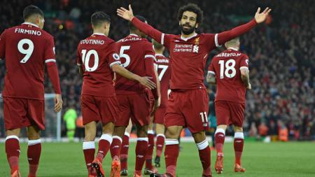 Mohamed Salah melakukan selebrasi pascamencetak gol kedua. - INDOSPORT