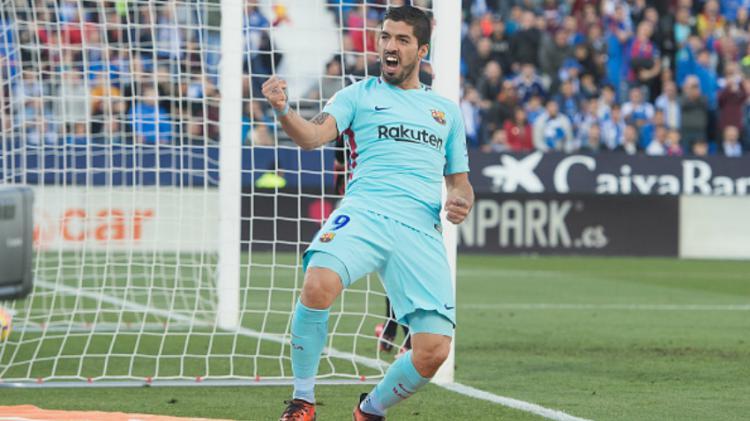 Luis Suarez merayakan gol keduanya ke gawang Leganes. Copyright: INDOSPORT