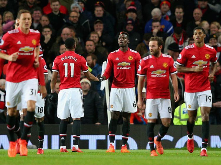 Selebrasi para pemain Man United usai membobol gawang Newcastle United. Copyright: Getty Images