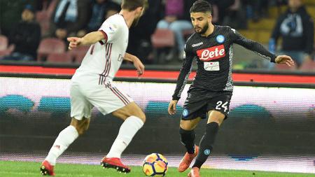 Napoli unggul lebih dulu dari AC Milan melalui gol Lorenzo Insigne. - INDOSPORT