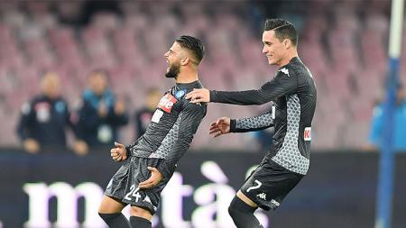 Lorenzo Insigne sukses membuka keunggulan Napoli atas AC Milan. - INDOSPORT