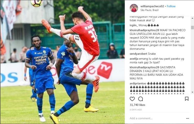 Akun Instagram Pacheco diserang netizen. Copyright: Instagram.com/williampacheco02