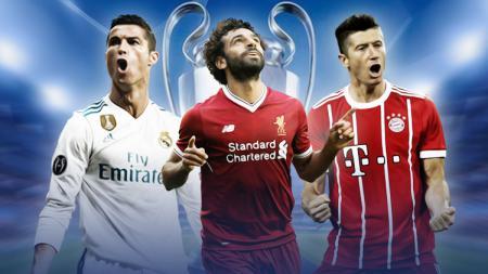 Cristiano Ronaldo, Mohamed Salah, dan Robert Lewandowski. - INDOSPORT