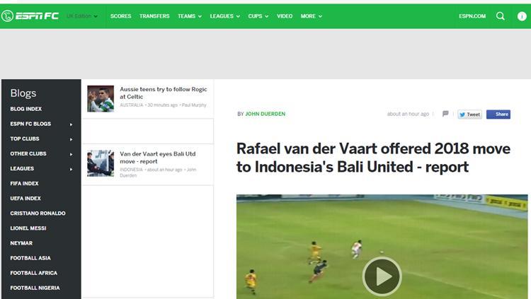 Rumor kedatangan Rafael van der Vaart disorot media asing. Copyright: espnfc.co.uk