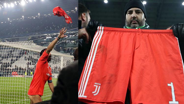 Salah satu suporter menunjukan celana milik Gianluigi Buffon. Copyright: INDOSPORT
