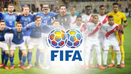 Skuat Timnas Italia, Peru dan logo FIFA. - INDOSPORT