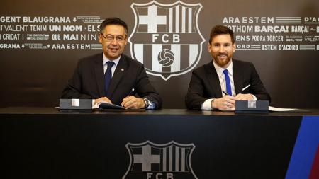 Lionel Messi memperpanjang kontraknya bersama Barcelona. - INDOSPORT