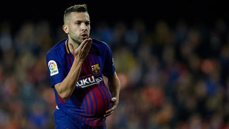 Selebrasi Jordi Alba usai cetak gol. - INDOSPORT