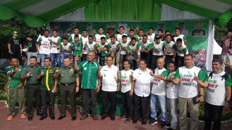 Suasana penyambutan tim PSMS Medan Copyright: INDOSPORT/Kesuma Ramadhan