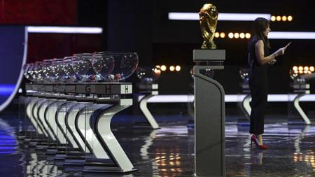 Suasana gladi resik jelang undian fase grup Piala Dunia 2018 di Istana Kremlin, Moskow, Rusia. - INDOSPORT