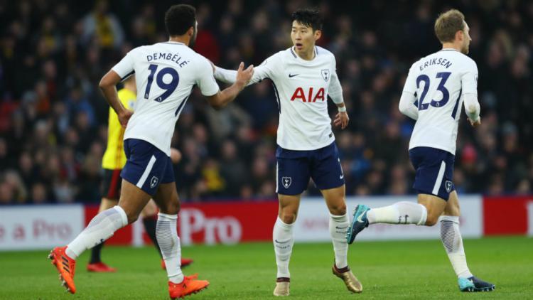 Selebrasi pemain Tottenham. Copyright: Getty Images