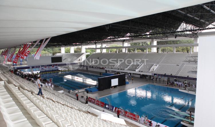 Kondisi terkini Stadion Aquatic GBK yang telah selesai direnovasi jelang Asian Games 2018. Copyright: Herry Ibrahim/INDOSPORT