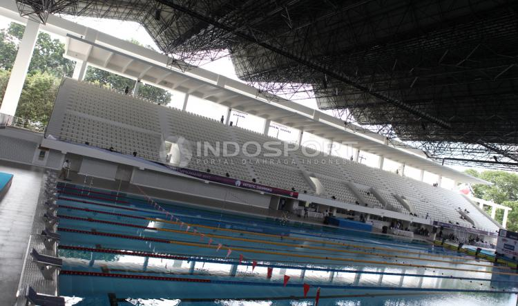 Di Stadion Aquatic baru ini akan diselenggarakannya test event bertajuk Indonesia Open Aquatics Chamopionship 2017. Copyright: Herry Ibrahim/INDOSPORT