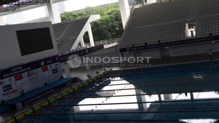Kondisi terkini Stadion Aquatic GBK yang telah selesai direnovasi jelang Asian Games 2018.
