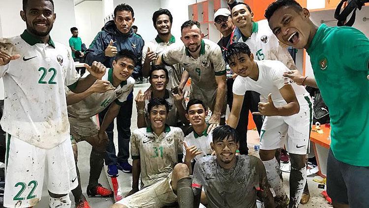 Skuat Timnas Indonesia usai melawan Mongolia. Copyright: Istimewa