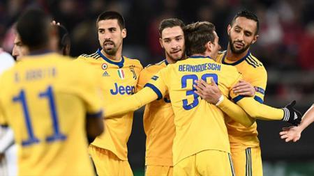 Selebrasi skuat Juventus di laga kontra Olympiakos. - INDOSPORT