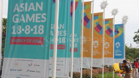 Spanduk Asian Games 2018. - INDOSPORT