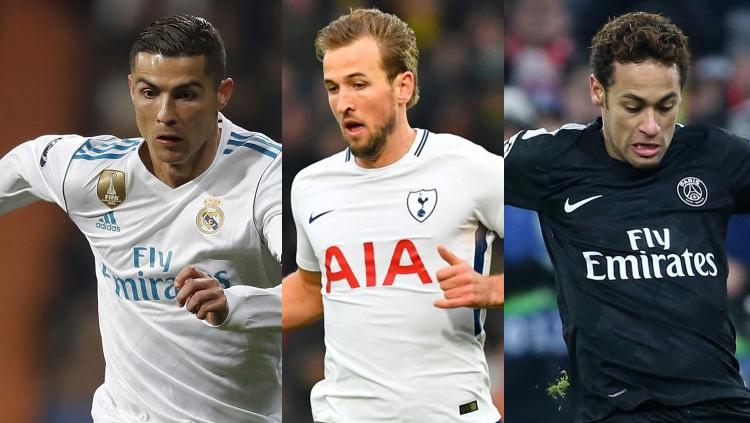 Kiri-kanan: Cristiano Ronaldo, Harry Kane, dan Neymar. Copyright: INDOPSORT