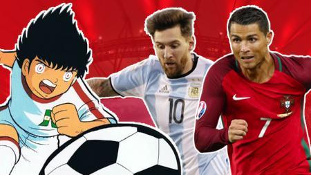 Lionel Messi, Cristiano Ronaldo, dan Captain Tsubasa. - INDOSPORT