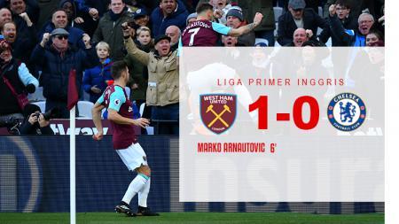 Babak pertama West Ham United vs Chelsea. - INDOSPORT