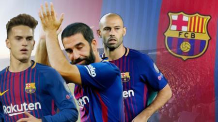 Kiri-kanan: Denis Suarez, Arda turan, dan Javier Mascherano. - INDOSPORT