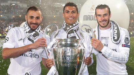 Karim Benzema, Cristiano Ronaldo, dan Gareth Bale. - INDOSPORT