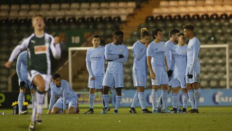 Manchester City Junior saat kalah dari Plymouth di Piala FA Copyright: INDOSPORT