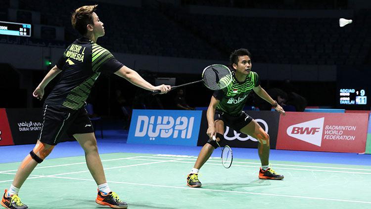 Pasangan ganda campuran Indonesia, Tontowi Ahmad/Liliyana Natsir di ajang BWF Dubai World Super Series Finals 2017. Copyright: HUMAS PP PBSI