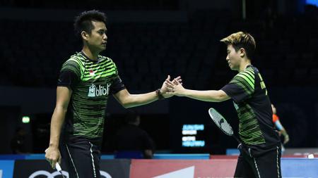 Pasangan ganda campuran Indonesia, Tontowi Ahmad/Liliyana Natsir di ajang BWF Dubai World Super Series Finals 2017. - INDOSPORT