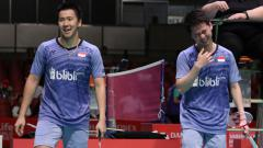 Indosport - Pasangan Indonesia, Kevin Sanjaya Sukamuljo/Marcus Fernaldi Gideon melenggang ke semifinal.