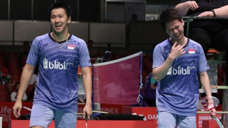 Pasangan Indonesia, Kevin Sanjaya Sukamuljo/Marcus Fernaldi Gideon melenggang ke semifinal. - INDOSPORT