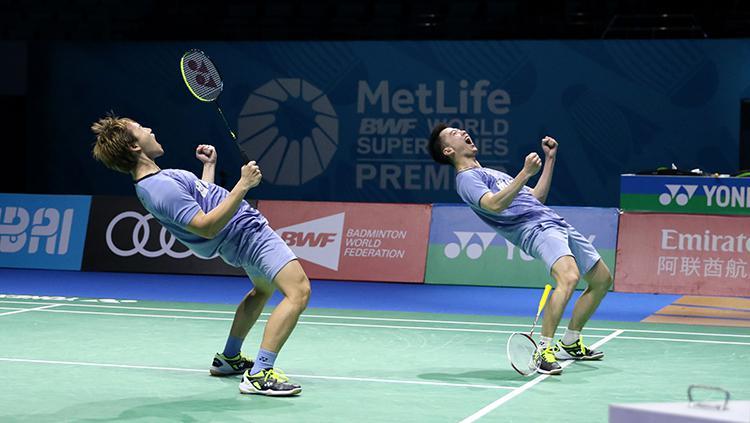 Pasangan Indonesia, Kevin Sanjaya Sukamuljo/Marcus Fernaldi Gideon melenggang ke semifinal. Copyright: Huma PBSI