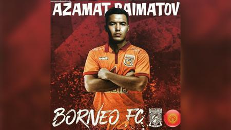 Azamat Baimatov saat diresmikan Borneo FC pada 2018. - INDOSPORT