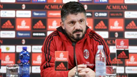 Pelatih AC Milan, Gennaro Gattuso saat diwawancara usai laga AC Milan vs Lazio. - INDOSPORT