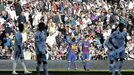 Selebrasi Lionel Messi di laga El Clasico. - INDOSPORT